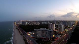 Legendary  Fort Lauderdale, Florida at sunset as seen from above by drone.