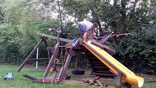 Swing Set Removal Video, Fun to Watch!!!