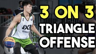 Triangle 3 on 3 Basketball Plays - Most of us have heard of the Triangle Offense in Basketball, well this is the triangle offense that you can use with your 3 on 3 ...