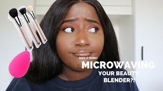 MICROWAVE YOUR BEAUTY BLENDER?? || How To Wash Your Makeup Brushes! Quick and Easy ||