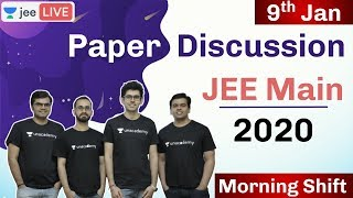 JEE Mains 2020 - Paper Discussion   9th Jan - Morning Shift  Physics Chemistry  Maths  Unacademy JEE