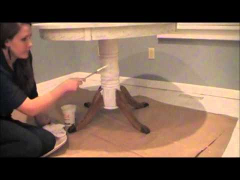 white table - This is a video tutorial for a DIY paint makeover of an oak kitchen table. I used antique white Behr paint from Home Depot and made my own