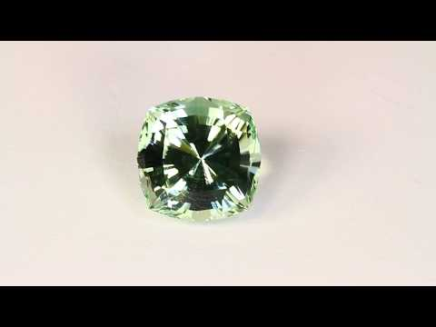 Square Cushion Prasiolite Weighs 14.14 Carats