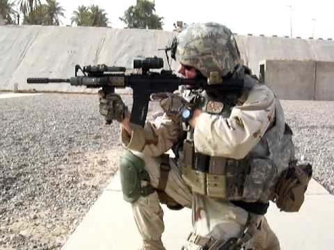 M4SOPMOD - US NAVY MP shooting the WCI muzzle brake on a M4 SOPMOD.