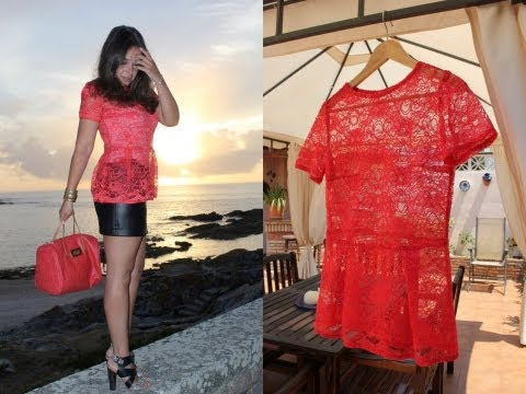 Como hacer una camiseta roja encaje con peplum estilo Olivia Palermo