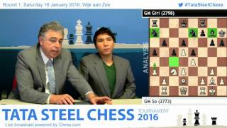 Wesley So beats Anish Giri, nice ideas and post game Analysis - Tata Steel Chess 2016