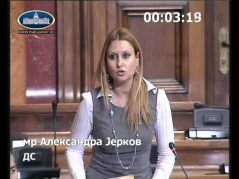 Александра Јерков на седници Скупштине о изменама Закона о јавном информисању и медијима