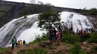 View of the beautiful overflow of water from Wilson Dam at Bhandardara