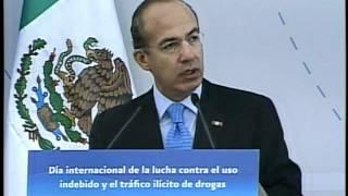 Ciudad de México, 26 de junio del 2012.- Discurso del Presidente Felipe Calderón Hinojosa durante la Conmemoración del Día...