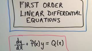 ❖ First Order Linear Differential Equations ❖