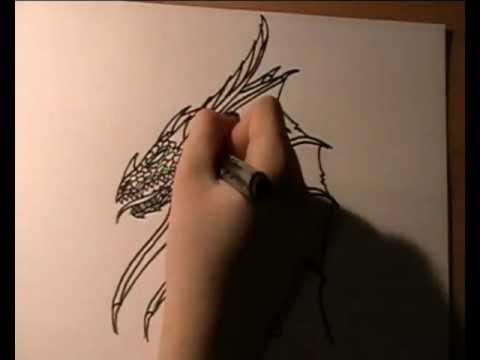 Schwarzen Drachen zeichnen / drawing a black dragon – Speedpainting
