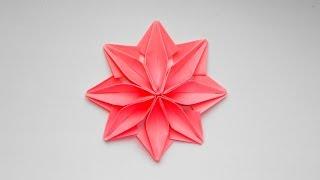 Цветок из бумаги. Оригами поделка для декорирования подарков