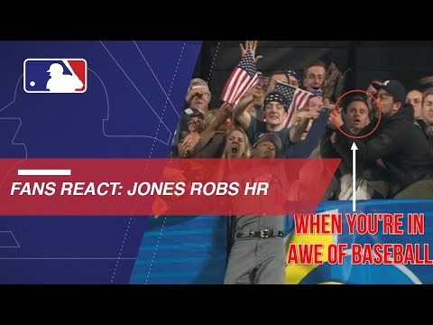 Video: Fans in center field react to Jones' fantastic catch