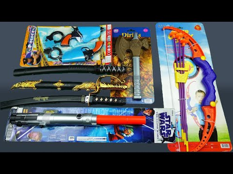 Toy Swords and Guns Unboxing !! Samurai Sword Star Wars Lightsaber and Bow Set