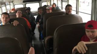 On the bus to Fieldston the team says hello to coach David Sehl
