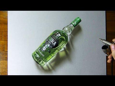 Timelapse con ilustración de botella de vodka hiperrealista