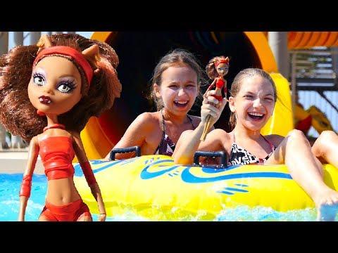 Видео для девочек с МонстерХай: ЛучшаяподружкаСвета и Клодин в АКВАПАРКЕ Развлечения для детей