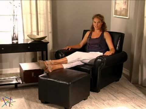 Paris Leather Club Chair and Ottoman Brown - Product Review Video