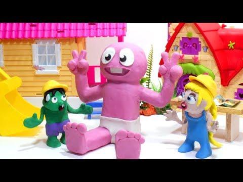 Cartoon Baby Hulk loves milk 💕Superhero Play Doh Stop motion