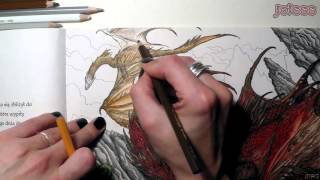 """Gra o tron"" kolorowanka / Game of Thrones coloring book Autor ilustracji: John Howe / Author: John Howe Kredki i inne / Pencils..."