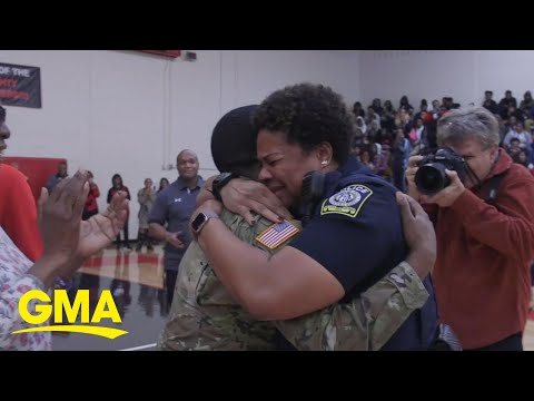 Army son surprises mom at high school pep rally after 2 years deployed   GMA Digital