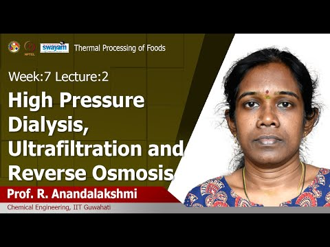Lec 19: High pressure dialysis, ultrafiltration and reverse osmosis