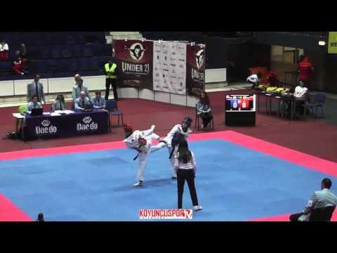 49kg Lulilia KOSTOVA (RUS) vs (POL) Obrebska, Magdelena (- 21 European TKD Championships 2015) (видео)