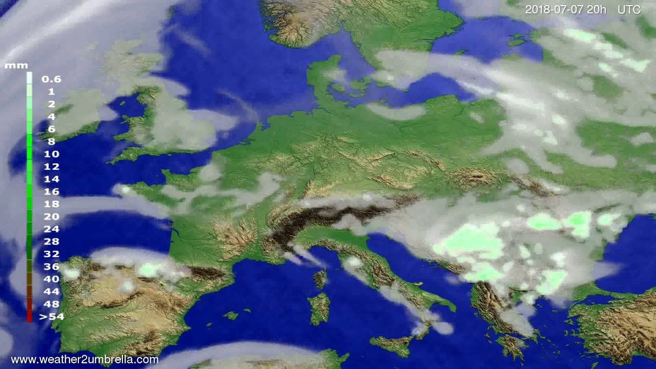Precipitation forecast Europe 2018-07-05
