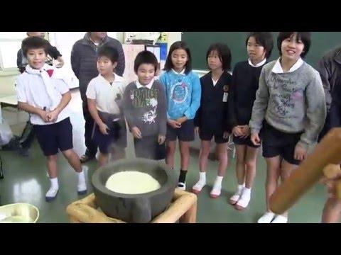 種子島の学校活動:星原小学校安納芋からいも餅つき体験!