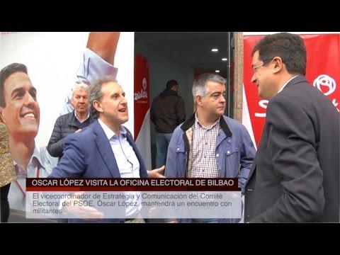 Oscar López visita la Oficina Electoral del PSE-EE en Bilbao