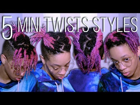 Short hair styles - 5 Quick & Easy Mini Twists Styles  Short Natural Hair