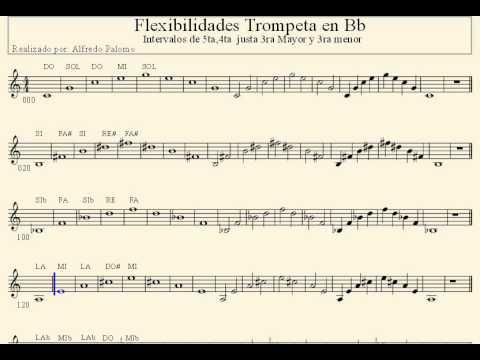 Flexibilidades 5ta 4ta justa 3ra Mayor y 3ra menor Trompeta Bb