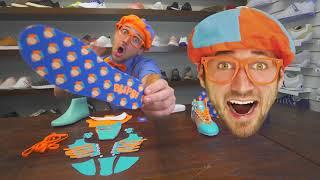 Video Blippi Explains: How To Make Shoes (unboxing) MP3, 3GP, MP4, WEBM, AVI, FLV Juni 2019