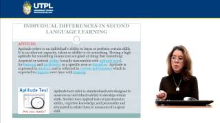 UTPL INDIVIDUAL DIFFERENCES IN SECOND LANGUAGE LEARNING