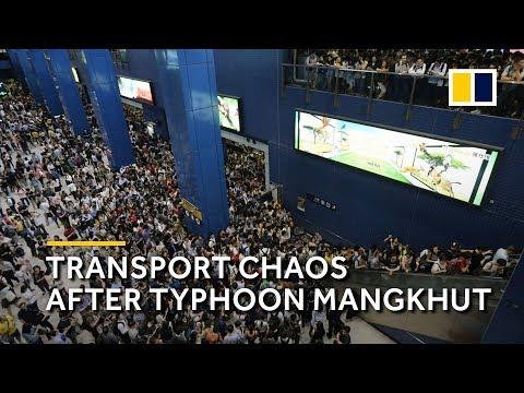Typhoon Mangkhut brings transport chaos to Hong Kong