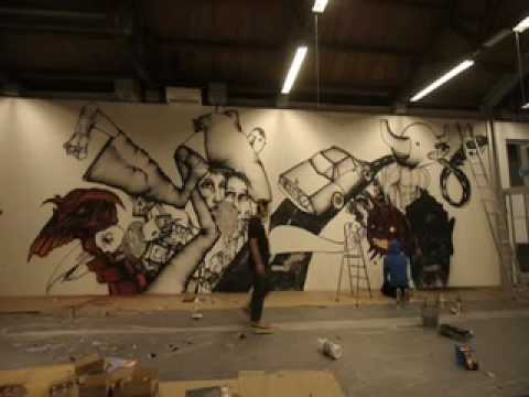 David Choe timelapse at Nuart 09 (видео)