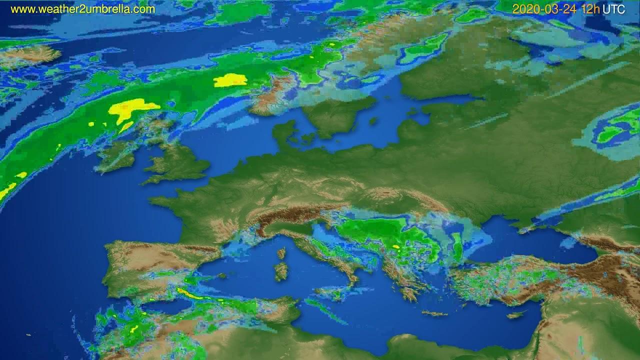 Radar forecast Europe // modelrun: 00h UTC 2020-03-24
