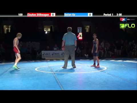sodan - 7th Place Match match of the 2013 USAW Junior Freestyle Nationals with Clayton Stillwagon from Montana vs Sodan Ka from Minnesota at 100 lbs. Copyright USA W...