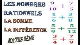 Maths 3ème - Les nombres rationnels Addition et Soustraction Exercice 35
