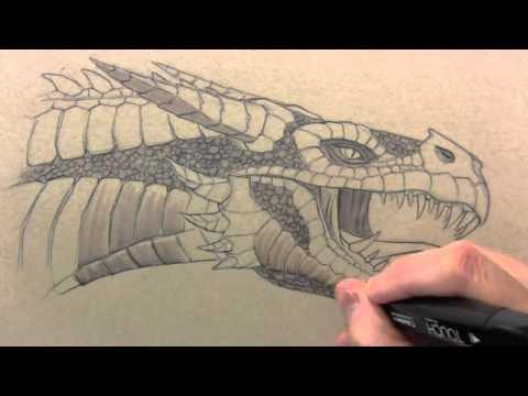 كيفية رسم راس التنين / How to paint the head of a dragon
