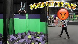 TRYING TO GET KICKED OUT OF GET AIR TRAMPOLINE PARK (WILL WE GET BANNED AGAIN?)