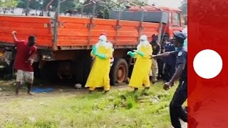 A patient suspected of suffering from the deadly Ebola virus left quarantine in Monrovia to search for food at a local market.