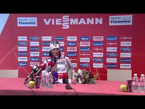 bjoergen - The official press-conference recorded right after the 30 km CT mass start for ladies of the Nordic World Ski Championships Trentino Fiemme 2013 featuring Ma...