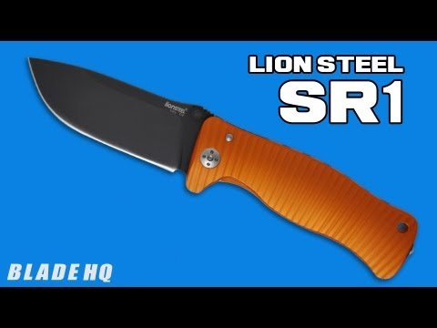"LionSteel Knives SR1AL Knife Red Aluminum Folding (3.7"" Black Plain)"