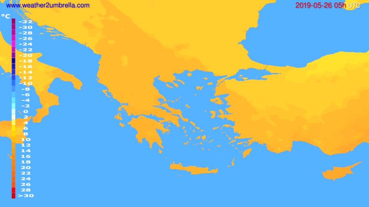 Temperature forecast Greece // modelrun: 00h UTC 2019-05-24