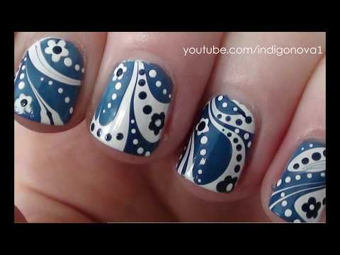 nail art - fantastica water marble floreale