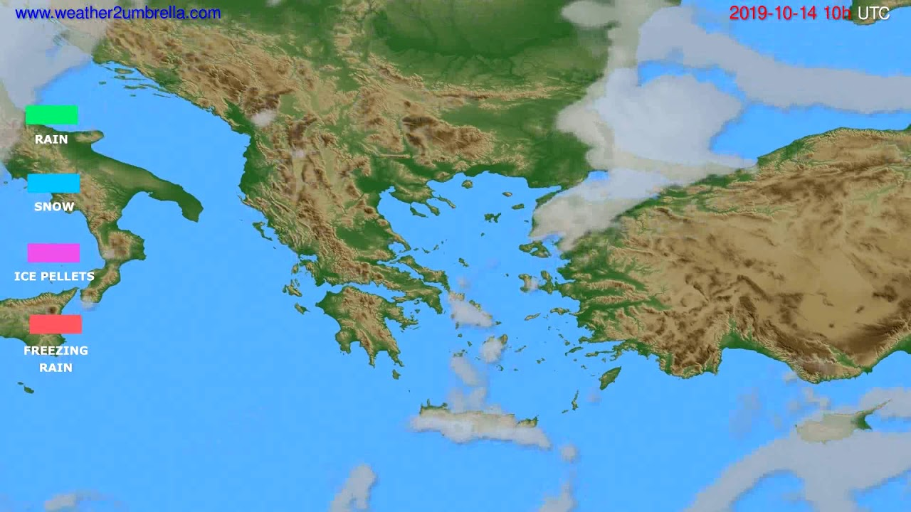 Precipitation forecast Greece // modelrun: 00h UTC 2019-10-12