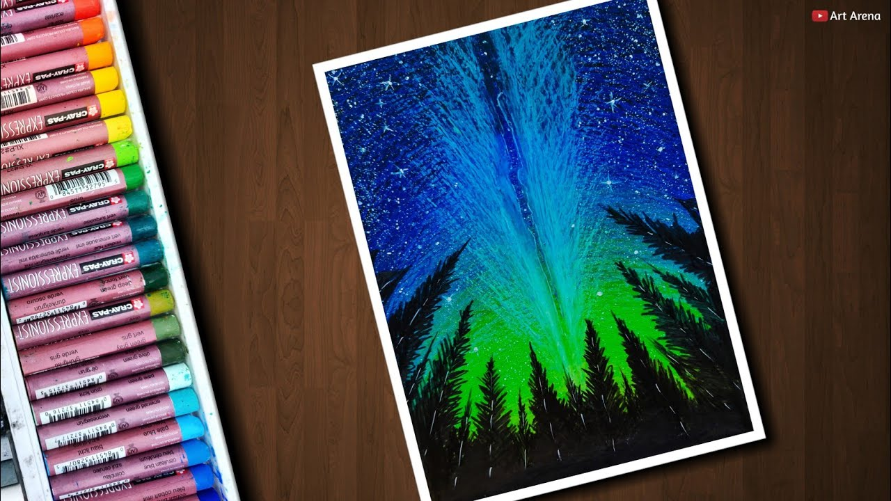 Beautiful Night Sky Scenery Drawing With Oil Pastels Step By Step