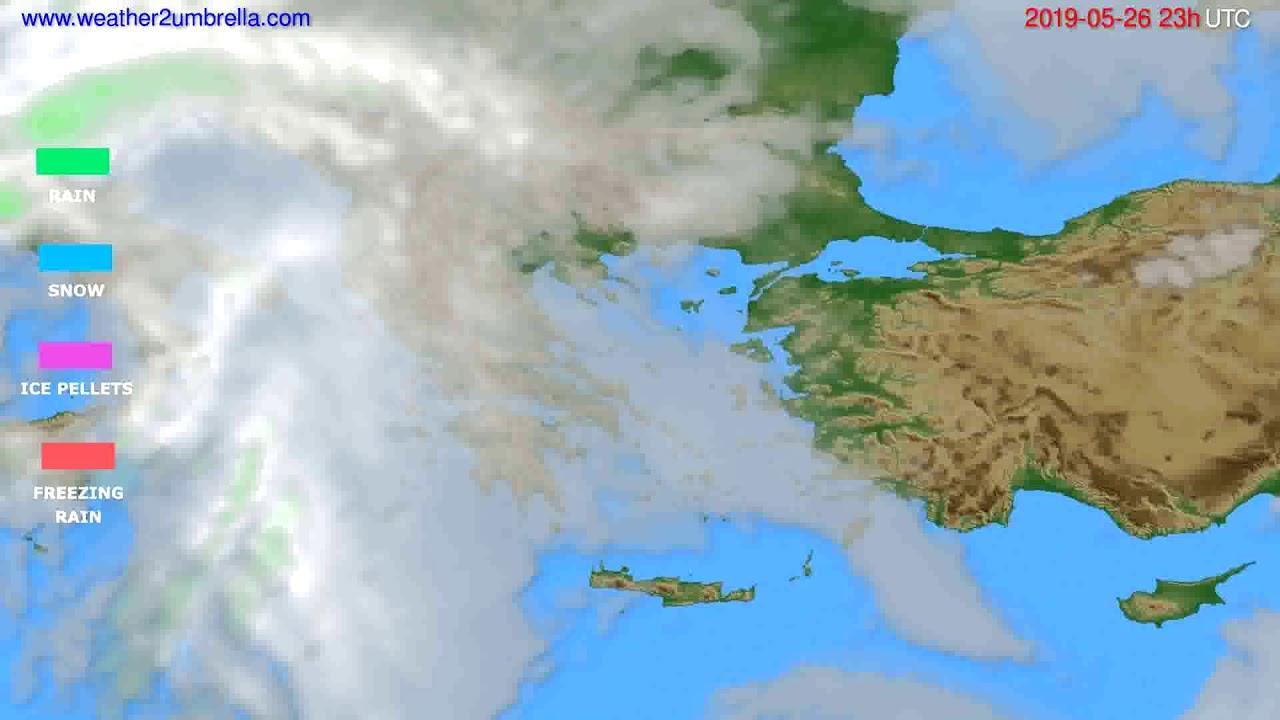 Precipitation forecast Greece // modelrun: 12h UTC 2019-05-23