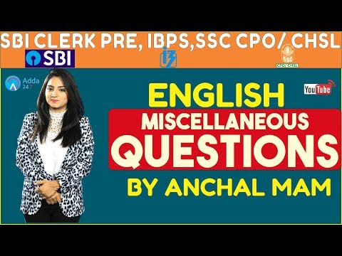 Miscellaneous Questions Of English For Sbi Clerk Pre, Ibps,ssc Cpo, Ssc Chsl